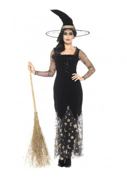 Deluxe Moon & Stars Witch Costume, Black & Gold