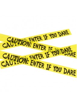 Caution Enter If You Dare Tape, Yellow & Black