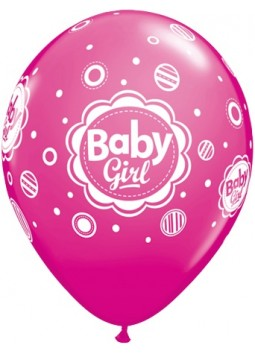 Baby Girl Pink Balloons - 11'' Latex (Pack of 6)