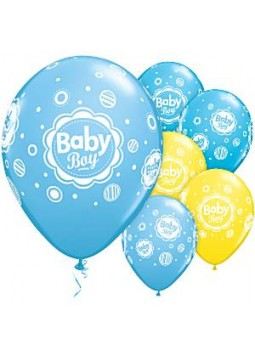 Baby Boy Blue & Yellow Balloons - 11'' Latex (Pack of 6)
