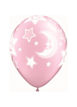 "Baby Moon & Stars Pearl Pink Balloons - 11"" Latex (Pack of 25)"
