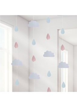 Hello World Rose Gold Raindrop Hanging Decoration - 2m (Pack of 6)