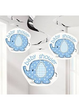 Umbrellaphants Blue Party Hanging Swirl Decorations - 91cm (Pack of 3)