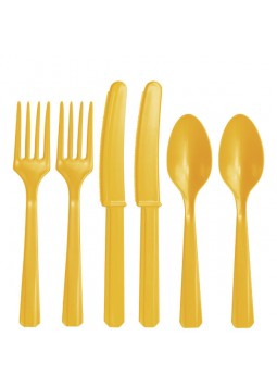 Yellow Plastic Cutlery (24)