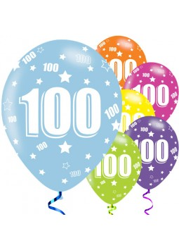 100th Birthday Assorted Balloons - 11'' Latex