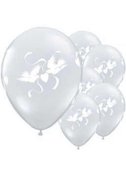 "Love Doves Diamond Clear Balloons - 16"" Latex (Pack of 50)"