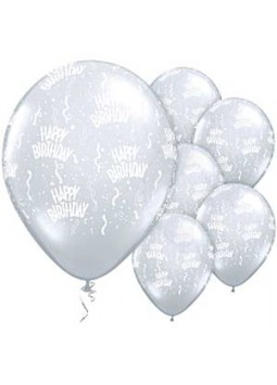 "Happy Birthday Clear Diamond Balloons - 11"" Latex (25)"