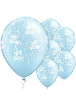 "Happy Birthday Pearl Light Blue Balloons - 11"" Latex (25)"