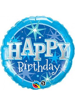 "Happy Birthday Blue Sparkle Balloon - 18"" Foil"
