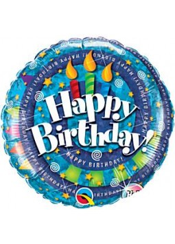 "Happy Birthday Spiral & Candles Balloon - 18"" Foil"
