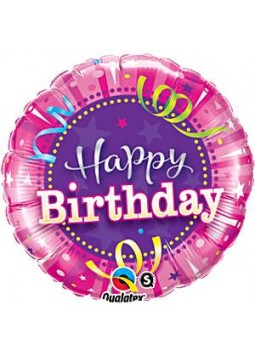 "Happy Birthday Hot Pink Round Balloon - 18"" Foil"