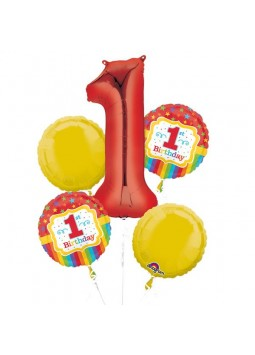 Rainbow 1st Birthday Balloon Bouquet - Assorted Foil