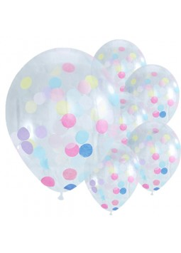 "Pick & Mix Confetti Balloons - 12"" Latex (Pack of 5)"