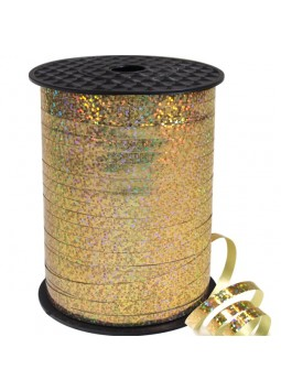 Gold Holographic Curling Balloon Ribbon - 228m