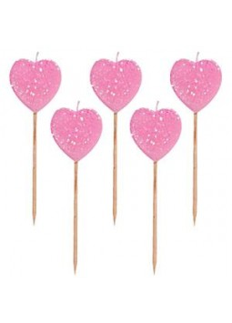 Pink Glitter Heart Pick Candles (Pack of 10)
